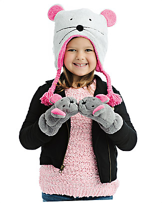 FlapJackKids Fleece Puppet Mittens Funny Mouse, 2-6 years Winter Hats