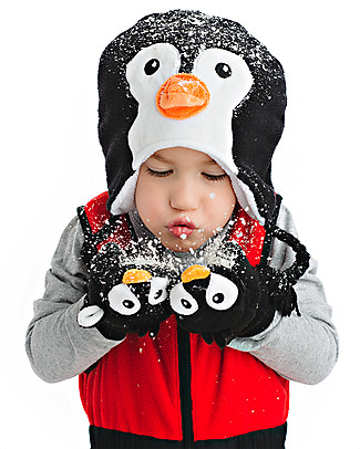 FlapJackKids Fleece Puppet Mittens Penguin, 2-6 years Winter Hats