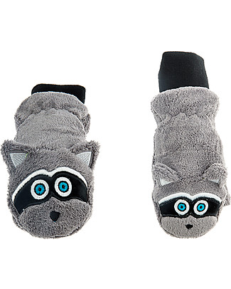 FlapJackKids Fleece Puppet Mittens Raccoon, 2-6 years Gloves e Mittens