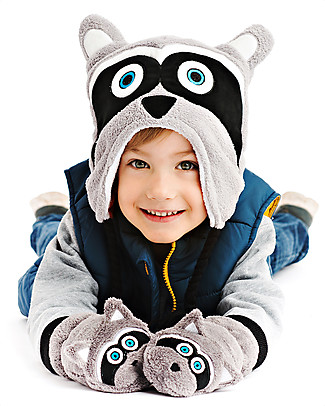 FlapJackKids Fleece Puppet Mittens Raccoon, 2-6 years Winter Hats