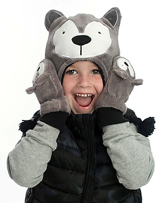 FlapJackKids Fleece Puppet Mittens Wolf, 2-6 years Winter Hats