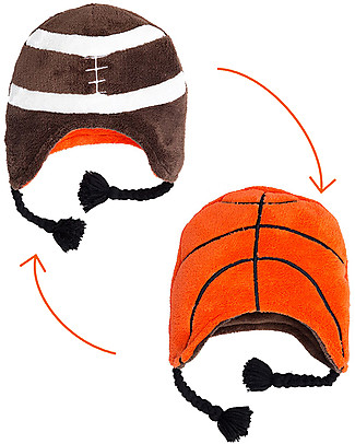 FlapJackKids Reversable Fleece Winter Hat - Basketball/Football - SPF 50+ Winter Hats