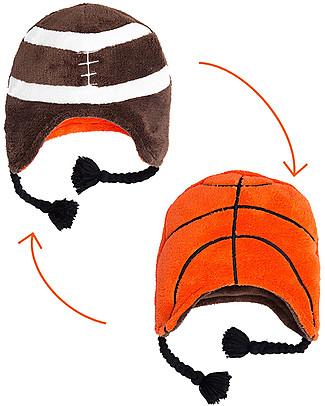 FlapJackKids Reversable Fleece Winter Hat - Basketball/Football - SPF 50+ Winter Hats