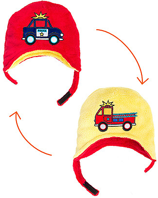 FlapJackKids Reversable Fleece Winter Hat - Fire Truck/Police Car - SPF 50+ Winter Hats