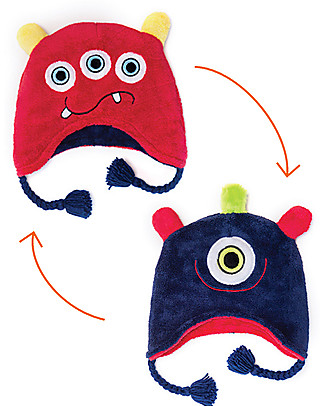 FlapJackKids Reversable Fleece Winter Hat - Monsters - SPF 50+ Winter Hats