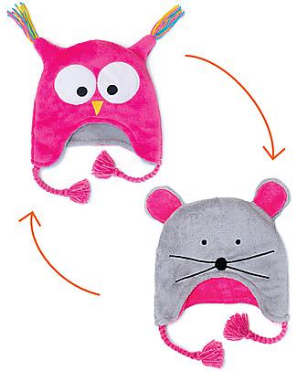 FlapJackKids Reversable Fleece Winter Hat - Owl/Mouse - SPF 50+ Winter Hats
