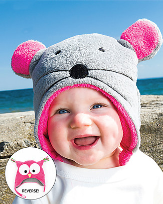 FlapJackKids Reversable Fleece Winter Hat - Owl/Mouse - SPF 50+ Winter Hats