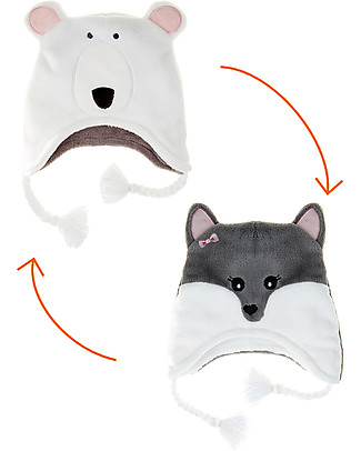 FlapJackKids Reversable Fleece Winter Hat - Polar Bear/Arctic Fox - SPF 50+ Winter Hats