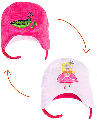 FlapJackKids Reversable Fleece Winter Hat - Princess/Pea - SPF 50+ Winter Hats