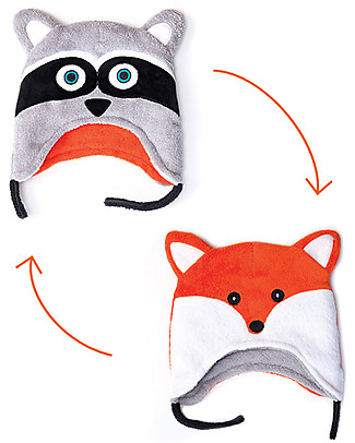 FlapJackKids Reversable Fleece Winter Hat - Raccoon/Fox - SPF 50+ Winter Hats