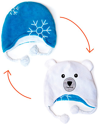 FlapJackKids Reversable Fleece Winter Hat - Snowflake/Polar Bear - SPF 50+ Winter Hats