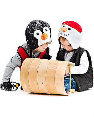 FlapJackKids Reversable Fleece Winter Hat - Snowman/Penguin - SPF 50+ Winter Hats