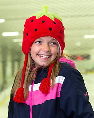 FlapJackKids Reversable Fleece Winter Hat - Strawberry/Cupcake - SPF 50+ Winter Hats