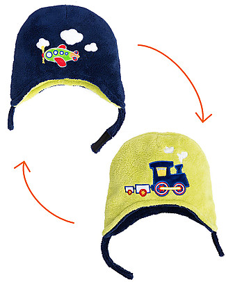FlapJackKids Reversable Fleece Winter Hat - Train/Plane - SPF 50+ Winter Hats