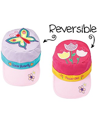 FlapJackKids Reversible Kids Cap SPF 50, Butterfly+Tulip - 100% cotton Sunhats