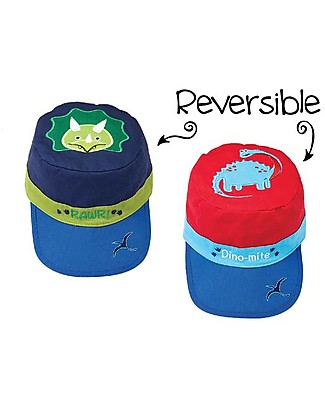 FlapJackKids Reversible Kids Cap SPF 50, Dinosaurs - 100% cotton Sunhats