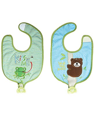 FlapJackKids Reversible Soother Bib, Bear/Frog - 100% Cotton Snap Bibs