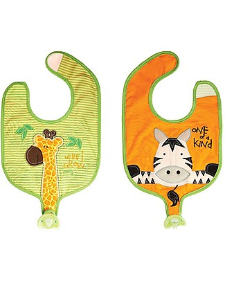 FlapJackKids Reversible Soother Bib, Giraffe/Zebra - 100% Cotton Snap Bibs