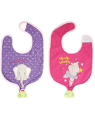 FlapJackKids Reversible Soother Bib, Hippo/Elephant - 100% Cotton Snap Bibs
