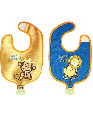 FlapJackKids Reversible Soother Bib, Lion/Monkey - 100% Cotton Snap Bibs