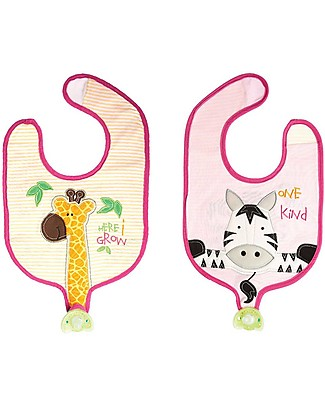 FlapJackKids Reversible Soother Bib, Zebra/Giraffe - 100% Cotton Snap Bibs