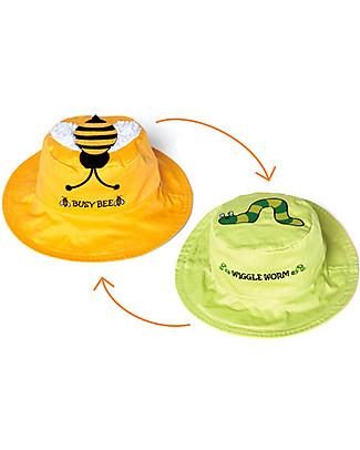FlapJackKids Reversible Summer Hat Anti-UV UPF 50+, Bee+Worm - 100% cotton Sunhats
