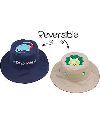 FlapJackKids Reversible Summer Hat Anti-UV UPF 50+, Dinosaurs - 100% cotton Sunhats