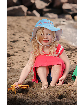 FlapJackKids Reversible Summer Hat Anti-UV UPF 50+, Dolphin+Flamingo - 100% cotton Sunhats