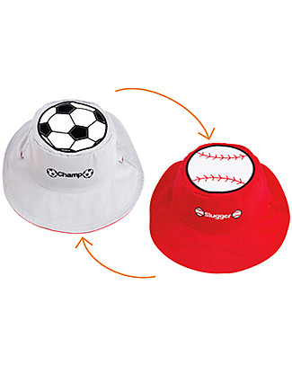 FlapJackKids Reversible Summer Hat Anti-UV UPF 50+, Football+Baseball - 100% cotton Sunhats