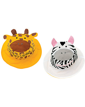 FlapJackKids Reversible Summer Hat Anti-UV UPF 50+, Giraffe+Zebra - 100% cotton Sunhats