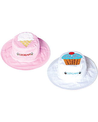 FlapJackKids Reversible Summer Hat Anti-UV UPF 50+, Ice-Cream+Cupcake - 100% cotton Sunhats