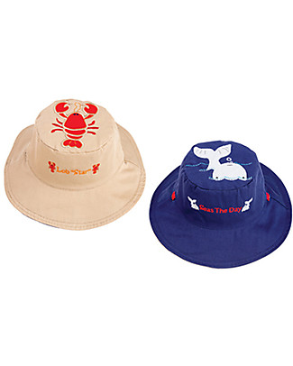 FlapJackKids Reversible Summer Hat Anti-UV UPF 50+, Lobster+Whale - 100% cotton Sunhats