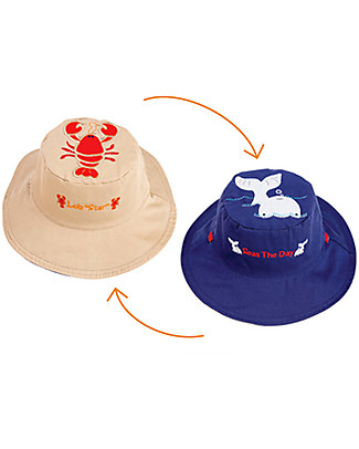 FlapJackKids Reversible Summer Hat Anti-UV UPF 50+, Lobster+Whale - 100% cotton Sunhats