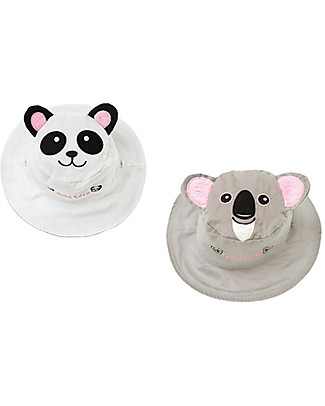 FlapJackKids Reversible Summer Hat Anti-UV UPF 50+, Panda+Koala - 100% cotton Sunhats