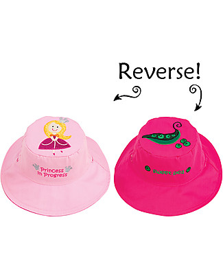 FlapJackKids Reversible Summer Hat Anti-UV UPF 50+, Princess+Sweet Pea - 100% cotton Sunhats