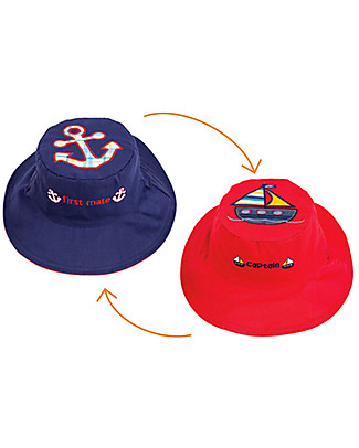 FlapJackKids Reversible Summer Hat Anti-UV UPF 50+, Sailboat+Anchor - 100% cotton Sunhats