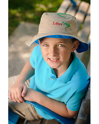 FlapJackKids Reversible Summer Hat Anti-UV UPF 50+, Shark+Alligator - 100% cotton Sunhats