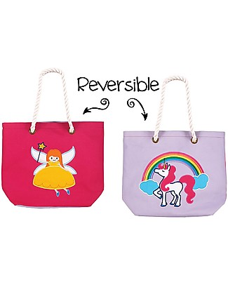 FlapJackKids Reversible Tote with Rope Handles, Fairy+Unicorn - Cotton canvas Tote Bags