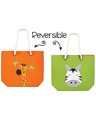 FlapJackKids Reversible Tote with Rope Handles, Giraffe+Zebra - Cotton canvas Tote Bags
