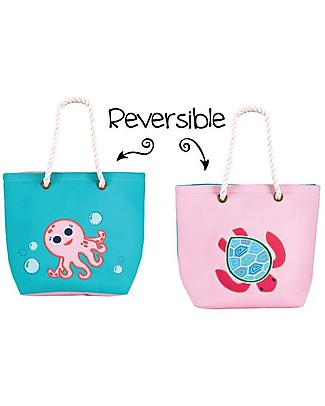 FlapJackKids Reversible Tote with Rope Handles, Turtle+Pink Octopus - Cotton canvas Lunch Boxes