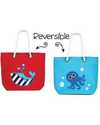 FlapJackKids Reversible Tote with Rope Handles, Whale+Blue Octopus - Cotton canvas Lunch Boxes