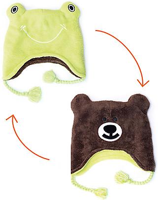 FlapJackKids Reversible Winter Hat Anti-UV UPF 50+, Frog+Bear - 100% pile Winter Hats