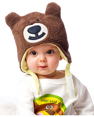 FlapJackKids Reversible Winter Hat Anti-UV UPF 50+, Frog+Bear - 100% pile Winter Hats