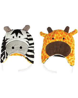 FlapJackKids Reversible Winter Hat Anti-UV UPF 50+, Giraffe & Zebra - 100% pile Winter Hats