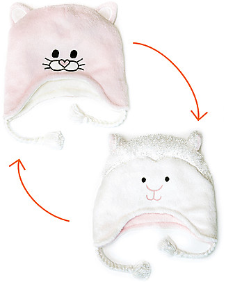 FlapJackKids Reversible Winter Hat Anti-UV UPF 50+, Kitten+Lamb - 100% pile Winter Hats