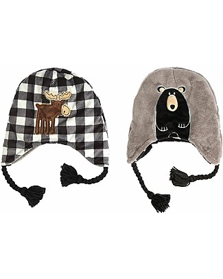 FlapJackKids Reversible Winter Hat Anti-UV UPF 50+, Moose & Bear - 100% pile Winter Hats