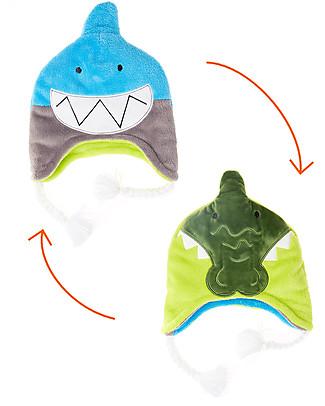 FlapJackKids Reversible Winter Hat Anti-UV UPF 50+, Shark+Crocodile - 100% pile null