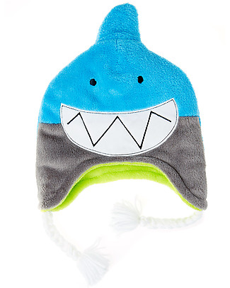 FlapJackKids Reversible Winter Hat Anti-UV UPF 50+, Shark+Crocodile - 100% pile Winter Hats