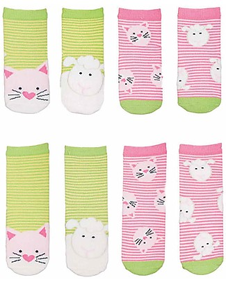 FlapJackKids Set 4 Pack of Socks, Cat and Lamb - Green/Pink Socks