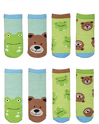 FlapJackKids Set 4 Pack of Socks, Frog and Bear - Brown/Green Socks